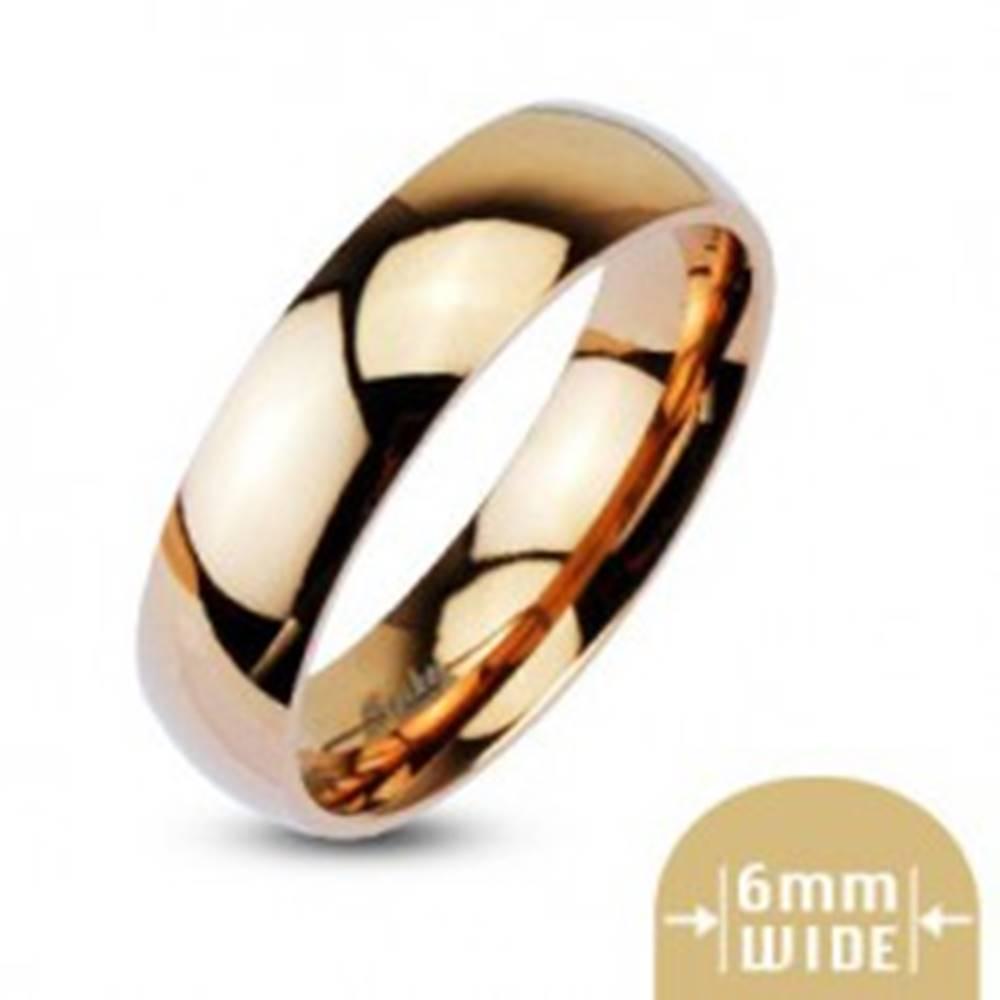 Šperky eshop Obrúčka z ocele v ružovozlatej farbe - 6 mm - Veľkosť: 49 mm