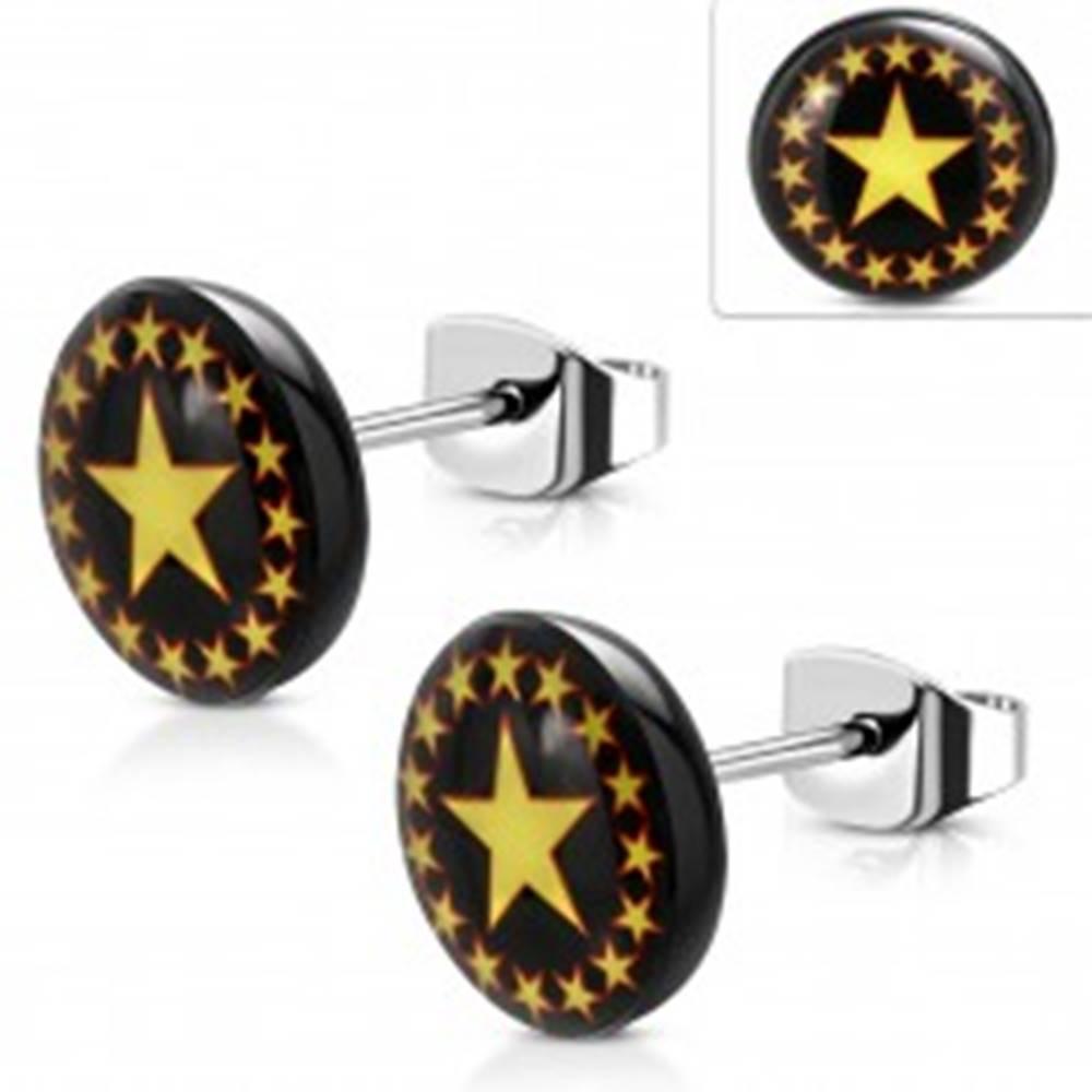 Šperky eshop Oceľové náušnice, čierny kruh so žlto-červenými hviezdami, puzetky