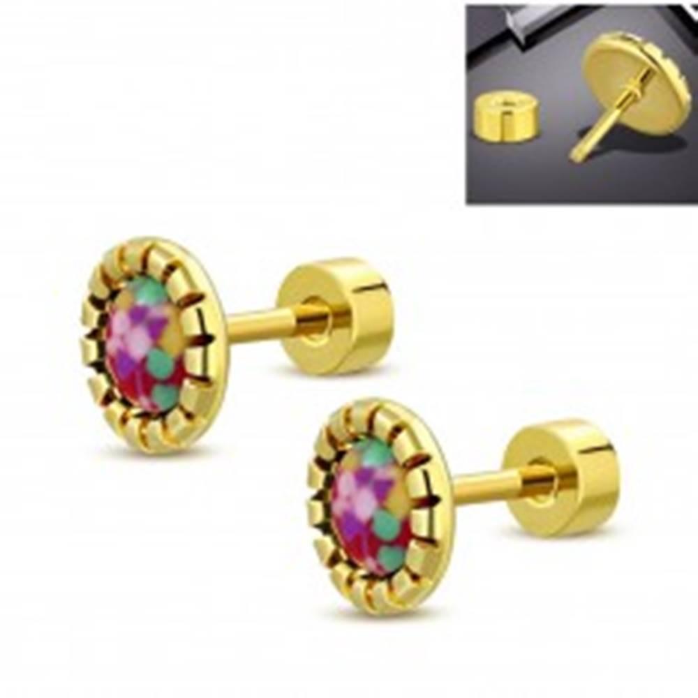 Šperky eshop Oceľové náušnice zlatej farby, farebný kvietok, šrubovacie zapínanie