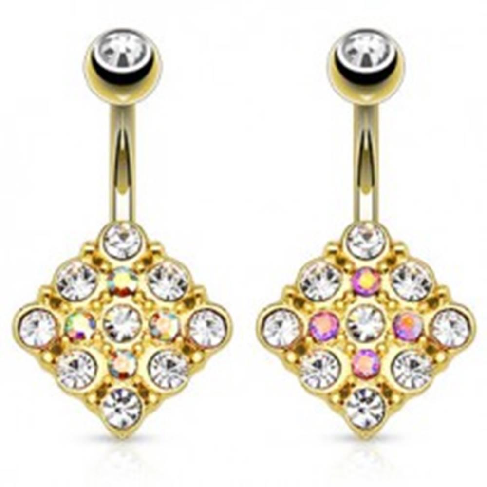 Šperky eshop Oceľový piercing do brucha zlatej farby, štvorec vykladaný ligotavými zirkónmi - Farba zirkónu: Dúhová - AB