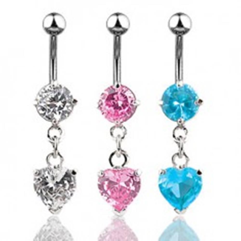 Šperky eshop Oceľový piercing do bruška, trblietavé zirkónové srdiečko - Farba zirkónu: Aqua modrá - Q