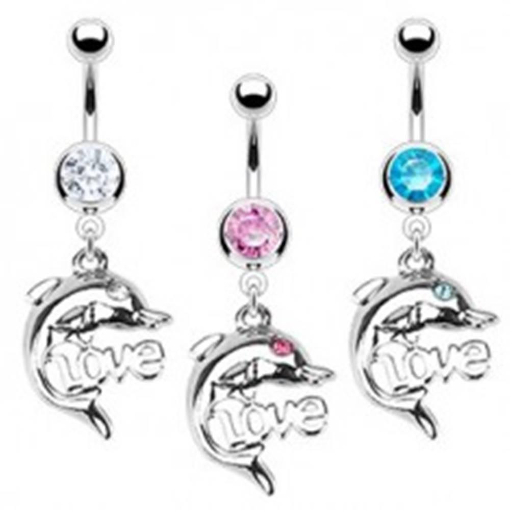 Šperky eshop Oceľový piercing do pupka - delfín, LOVE - Farba zirkónu: Aqua modrá - Q