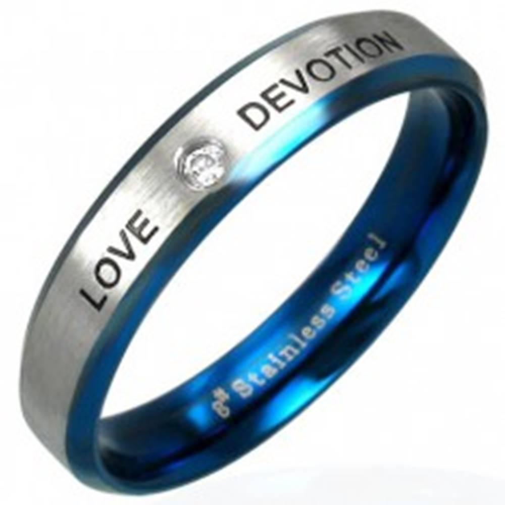 Šperky eshop Oceľový prsteň LOVE DEVOTION so zirkónom - Veľkosť: 49 mm
