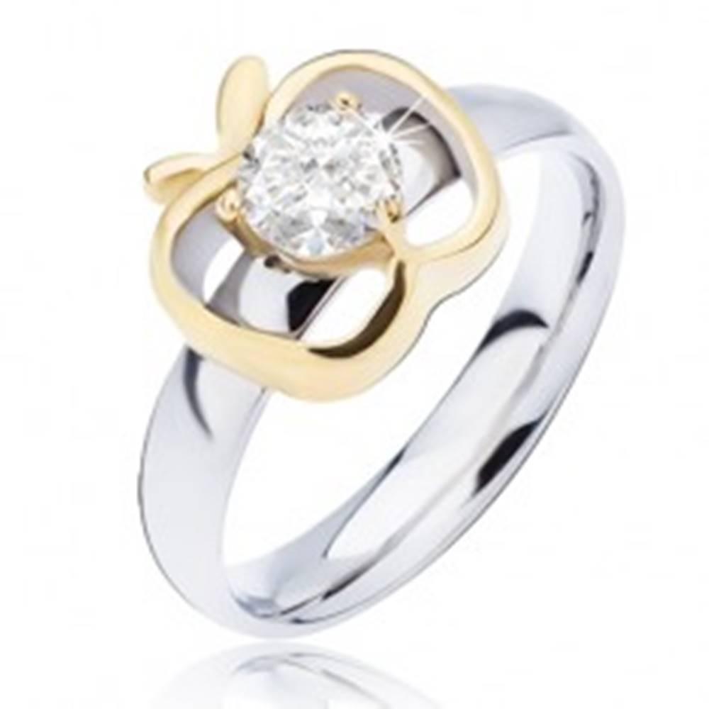 Šperky eshop Oceľový prsteň striebornej farby, obrys jablka zlatej farby s okrúhlym čírym zirkónom - Veľkosť: 49 mm