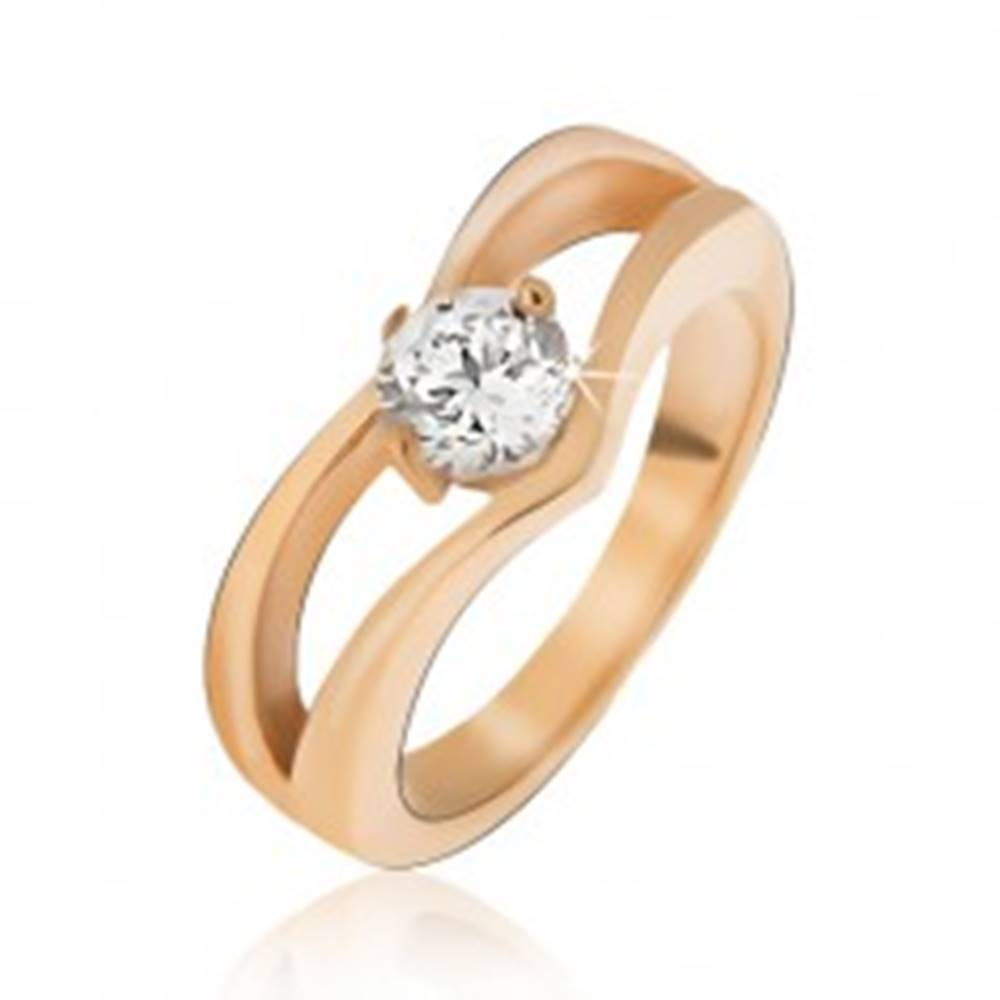 Šperky eshop Oceľový prsteň zlatej farby, zdvojený špic, okrúhly číry kamienok - Veľkosť: 49 mm