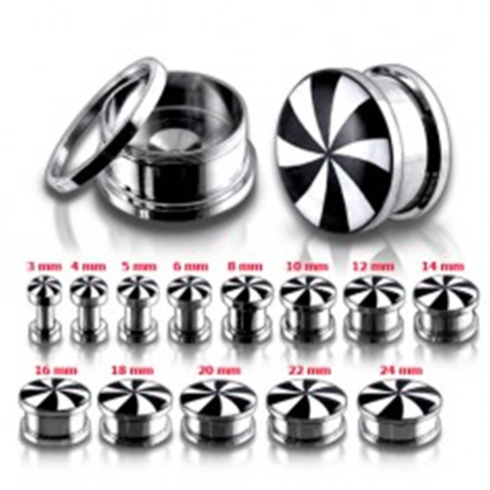 Šperky eshop Okrúhly oceľový tunel plug, čierne a biele lúče - Hrúbka: 10 mm