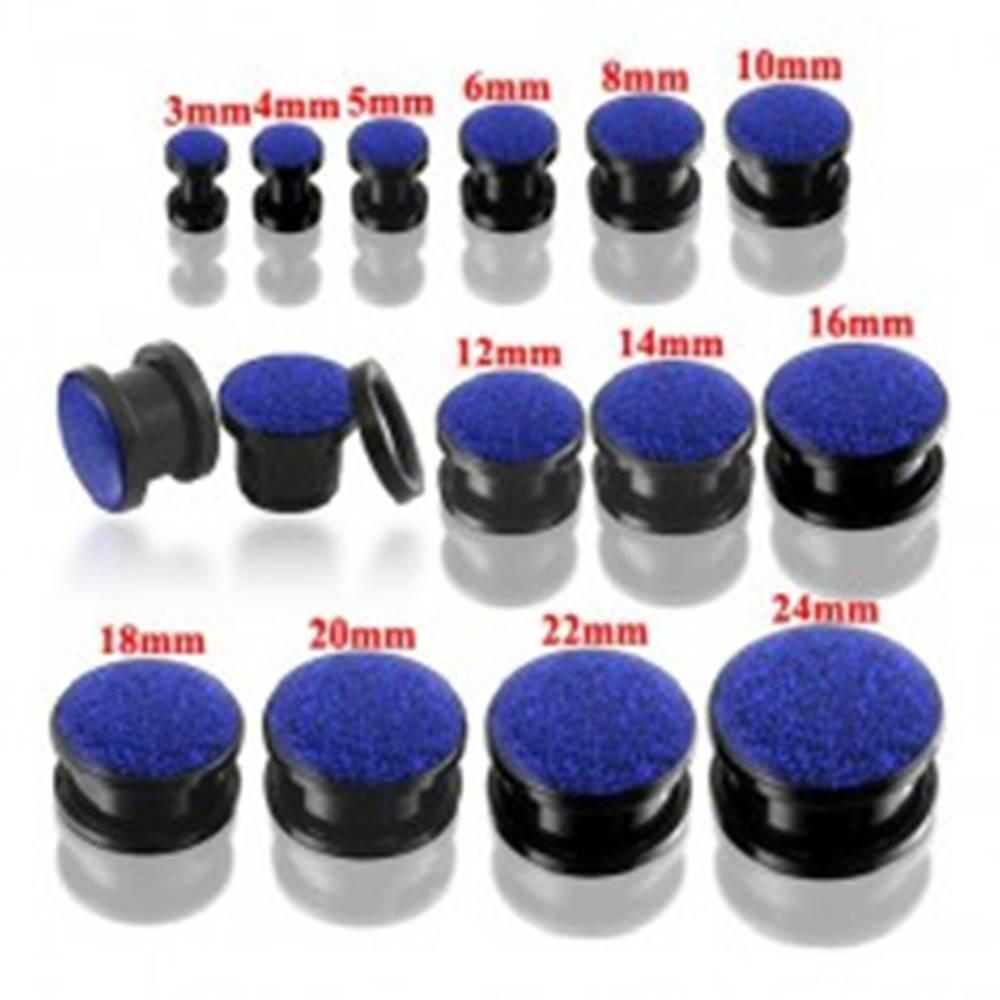 Šperky eshop Okrúhly tunel plug čiernej farby s modrými glitrami - Hrúbka: 10 mm