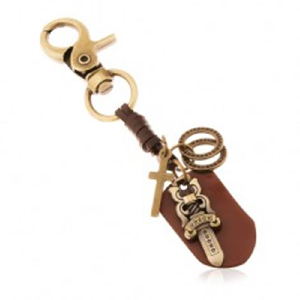 Šperky eshop Patinovaný prívesok na kľúče v mosadznom odtieni, meč s hviezdami, kruhy