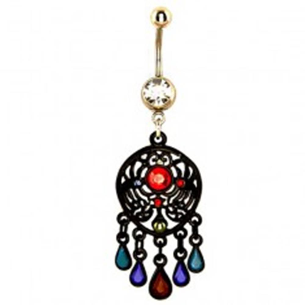 Šperky eshop Piercing do bruška - čierny antický prívesok, farebné kamienky