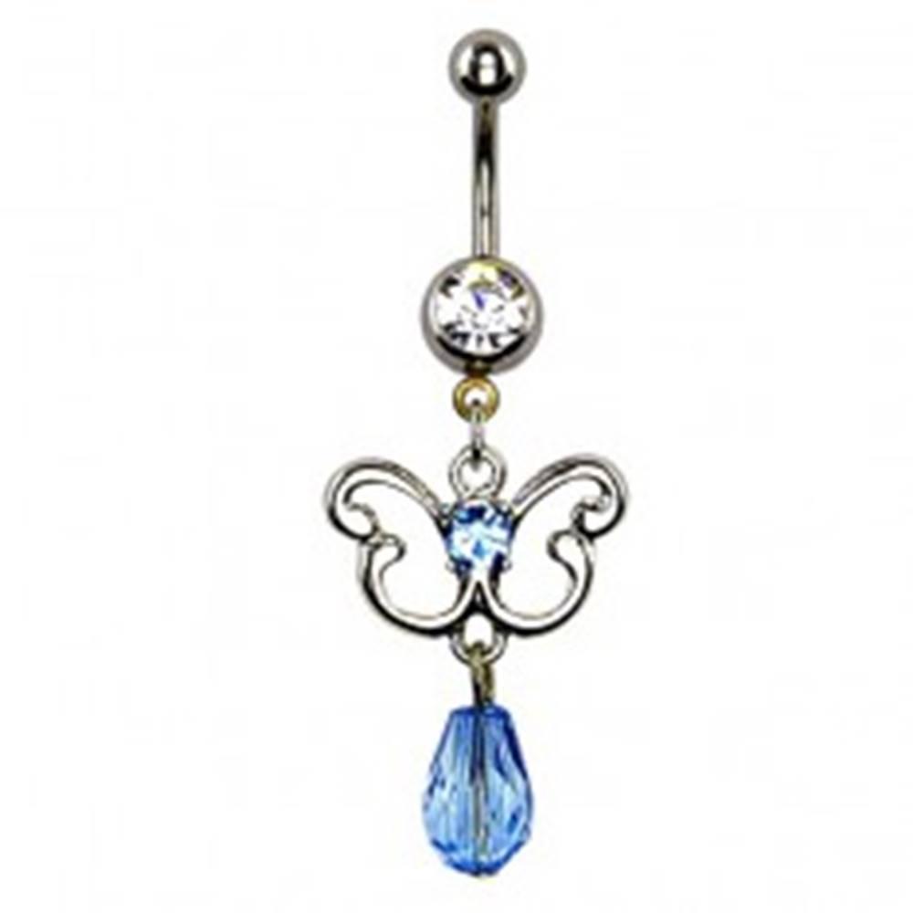 Šperky eshop Piercing do bruška - obrys motýľa, modrý zirkón a korálka