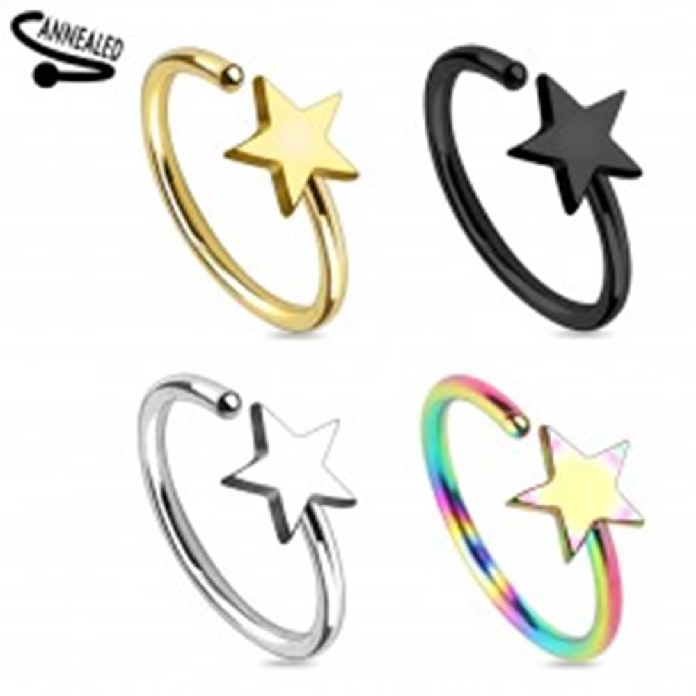 Šperky eshop Piercing do nosa z chirurgickej ocele, krúžok s lesklou hviezdičkou - Farba piercing: Čierna