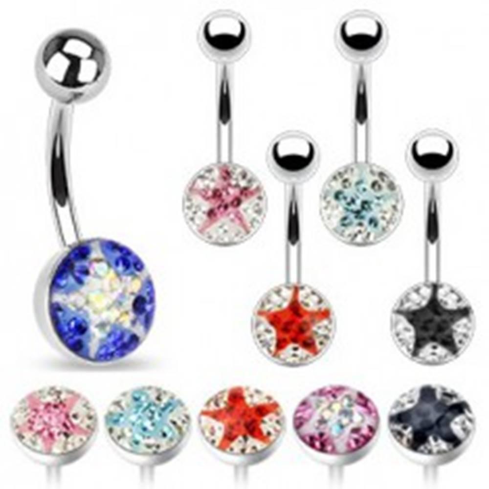 Šperky eshop Piercing do pupka - malé farebné zirkóny, hviezda - Farba zirkónu: Aqua - číra