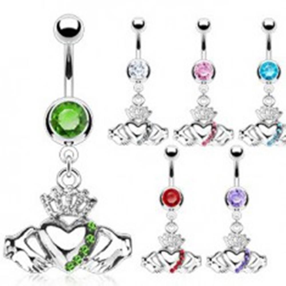 Šperky eshop Piercing do pupka s írskym symbolom lásky - Farba zirkónu: Aqua modrá - Q