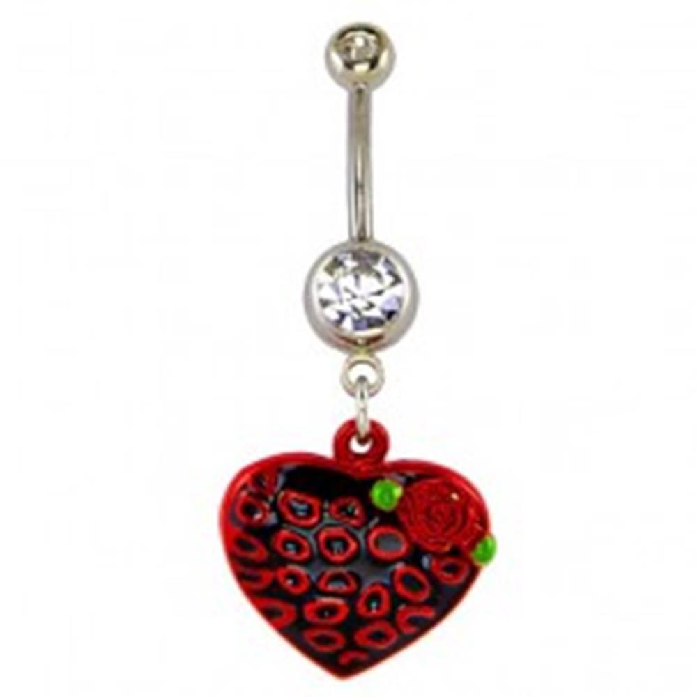 Šperky eshop Piercing do pupku - čierno červené srdce a krúžky, ružička