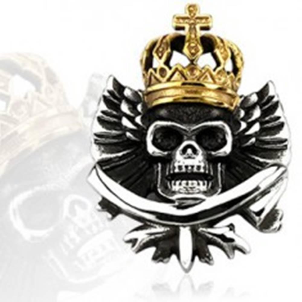 Šperky eshop Prívesok - oceľová lebka s kráľovskou korunou