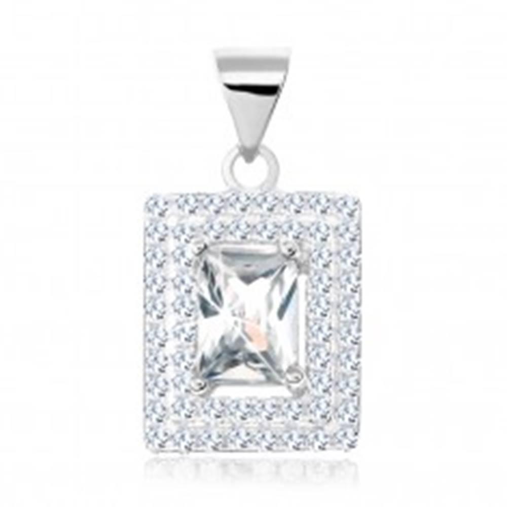 Šperky eshop Prívesok, striebro 925, číry zirkónový obdĺžnik, dvojité lemovanie zo zirkónikov