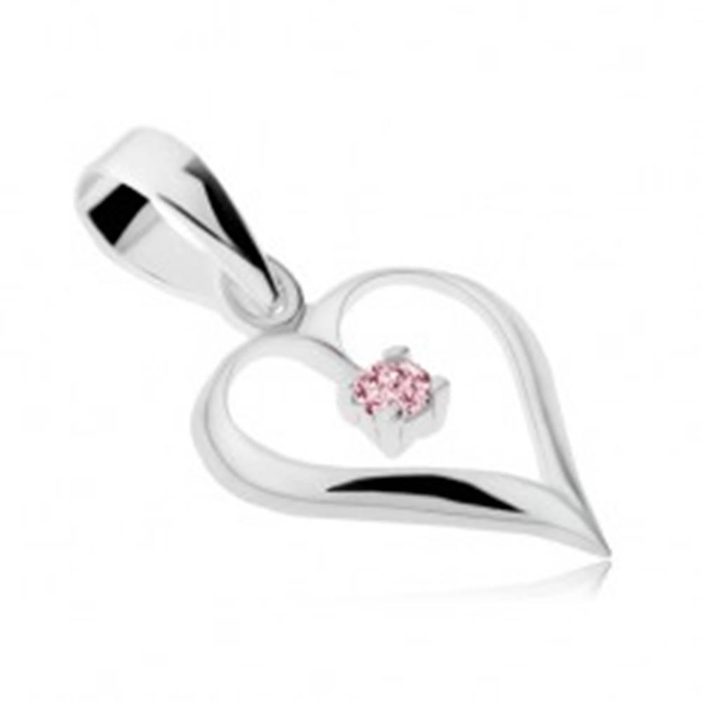 Šperky eshop Prívesok zo striebra 925, lesklá kontúra srdca, ružový zirkón