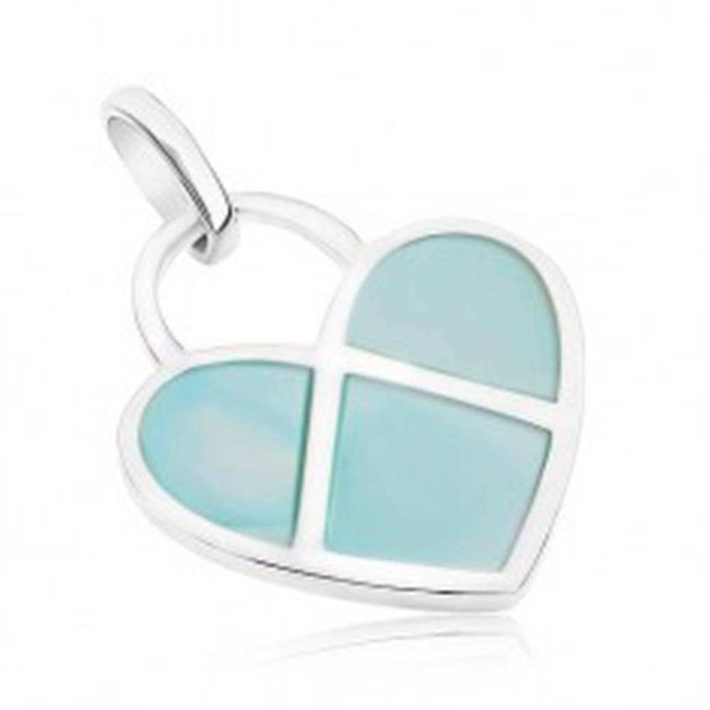 Šperky eshop Prívesok zo striebra 925, ploché srdiečko zdobené modrou perleťou