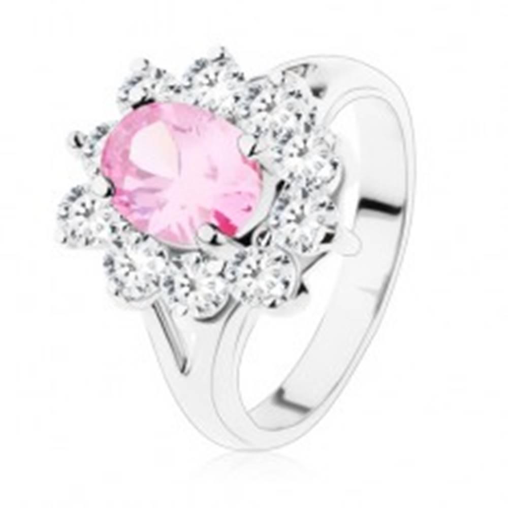 Šperky eshop Prsteň s rozdvojenými ramenami, ružový zirkónový ovál, číre lemovanie - Veľkosť: 48 mm