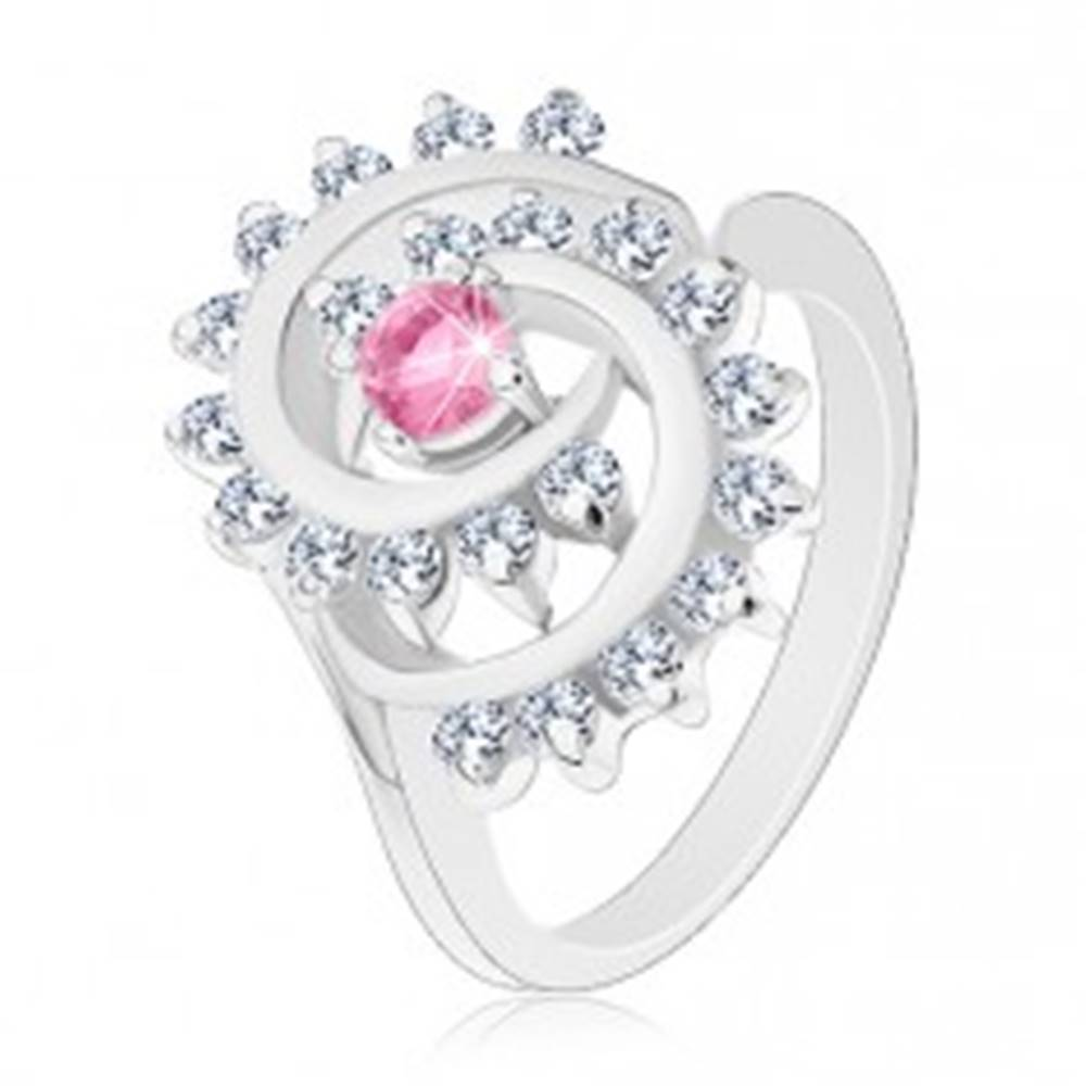 Šperky eshop Prsteň v striebornej farbe, špirála s čírym lemom, ružový okrúhly zirkón - Veľkosť: 50 mm