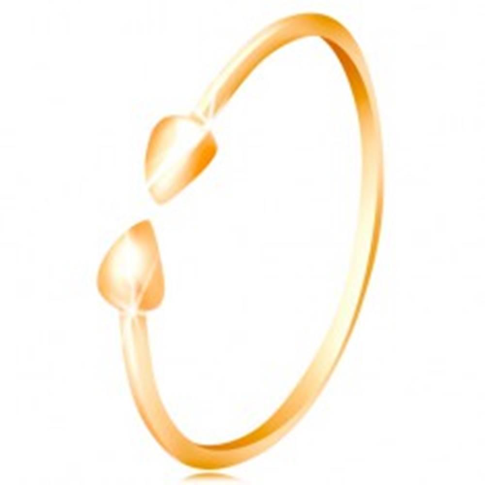 Šperky eshop Prsteň v žltom 14K zlate - lesklé ramená ukončené malými slzičkami - Veľkosť: 50 mm