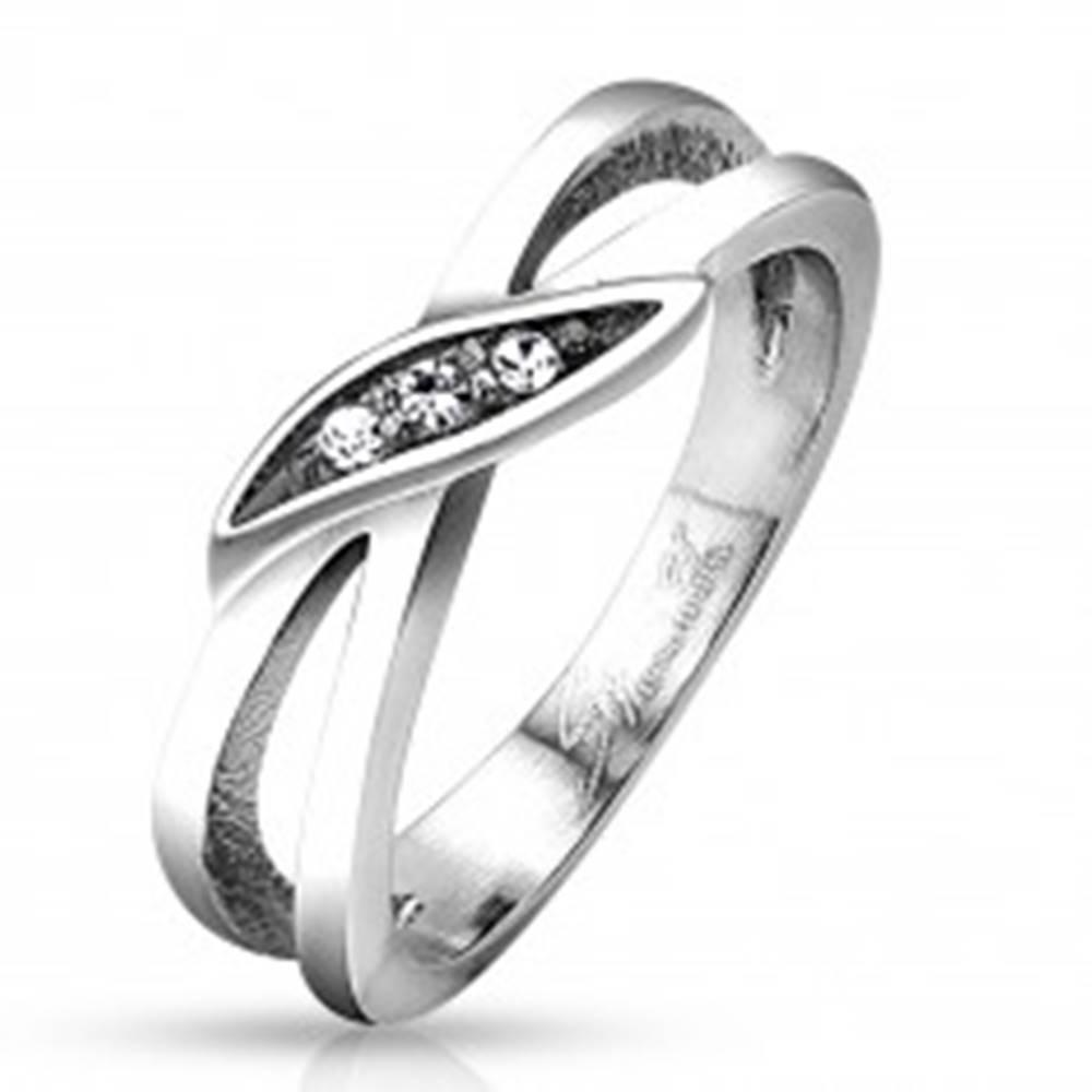 Šperky eshop Prsteň z ocele 316L  striebornej farby, rozdelené ramená, číre zirkóny - Veľkosť: 48 mm