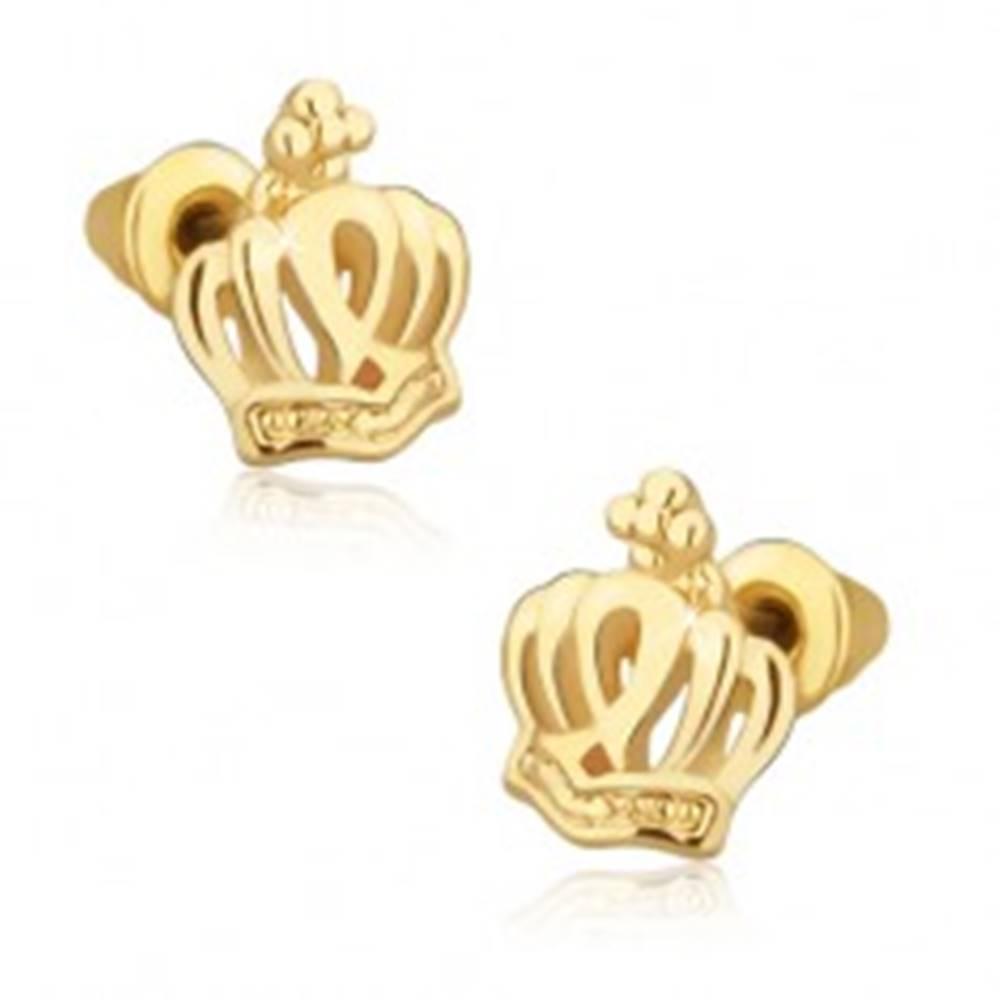 Šperky eshop Puzetové náušnice zlatej farby, kráľovská koruna