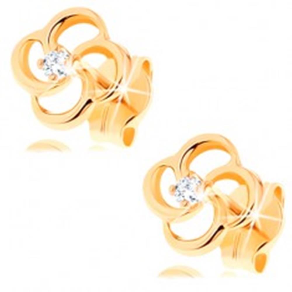 Šperky eshop Puzetové náušnice zo žltého 14K zlata - kvietok so zatočenými obrysmi lupeňov