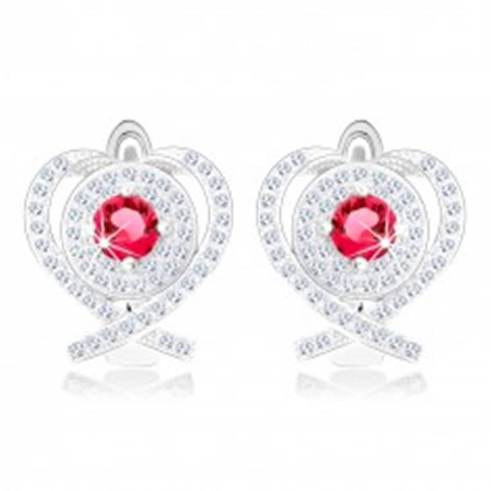 Šperky eshop Strieborné 925 ródiované náušnice, kontúra srdca, prekrížené línie, okrúhly červený zirkón