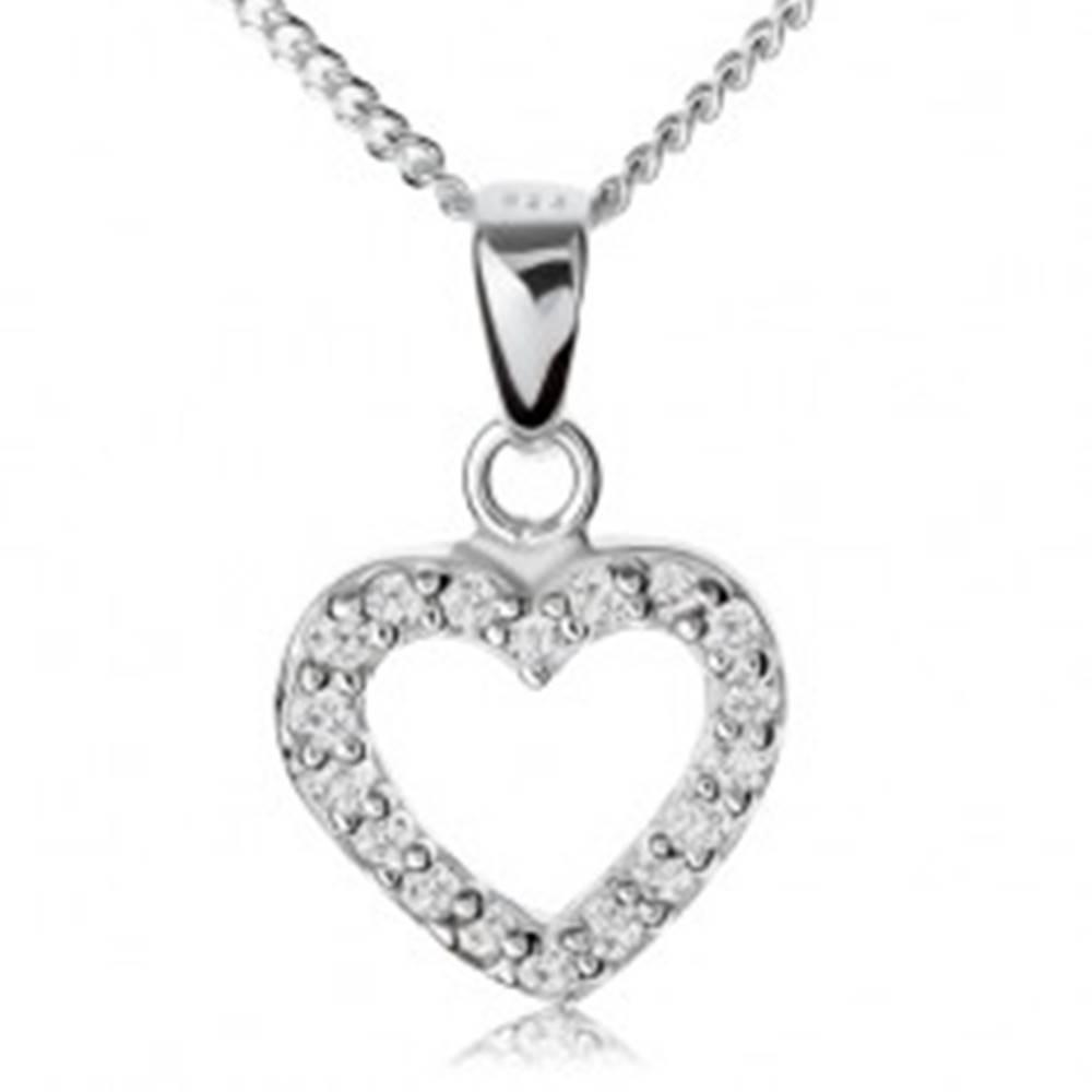 Šperky eshop Strieborný 925 náhrdelník, číra zirkónová kontúra súmerného srdiečka