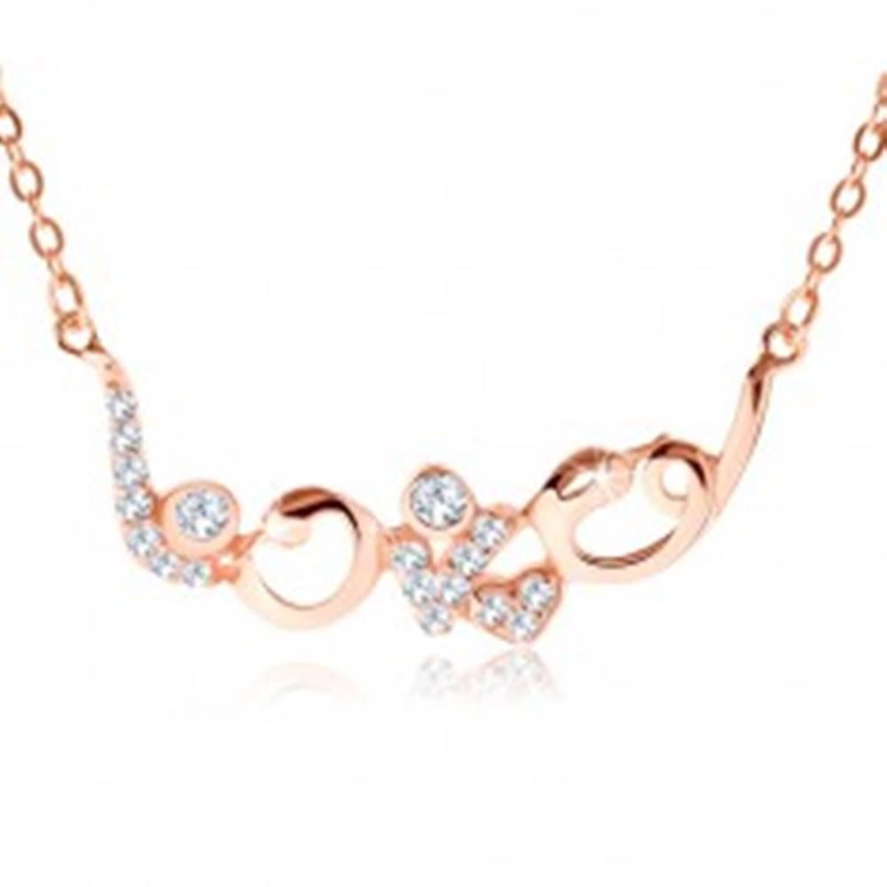 """Šperky eshop Strieborný náhrdelník 925 medenej farby, ligotavý nápis """"love"""", zirkóny"""