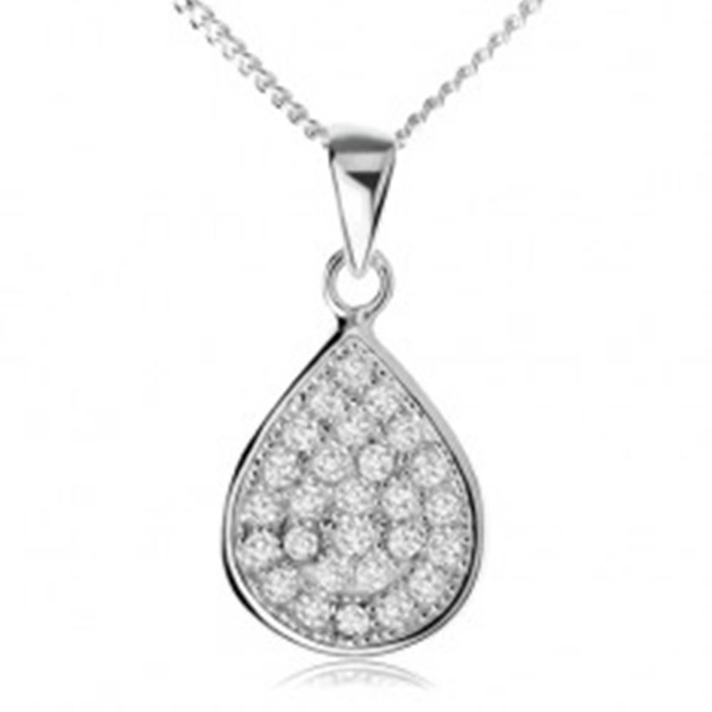 Šperky eshop Strieborný náhrdelník 925, trblietavá zirkónová slza, retiazka