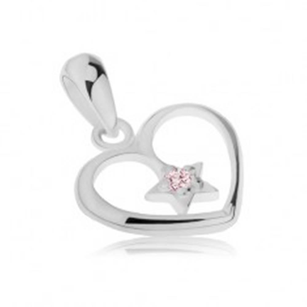 Šperky eshop Strieborný prívesok 925, lesklý obrys srdca, hviezdička so zirkónom