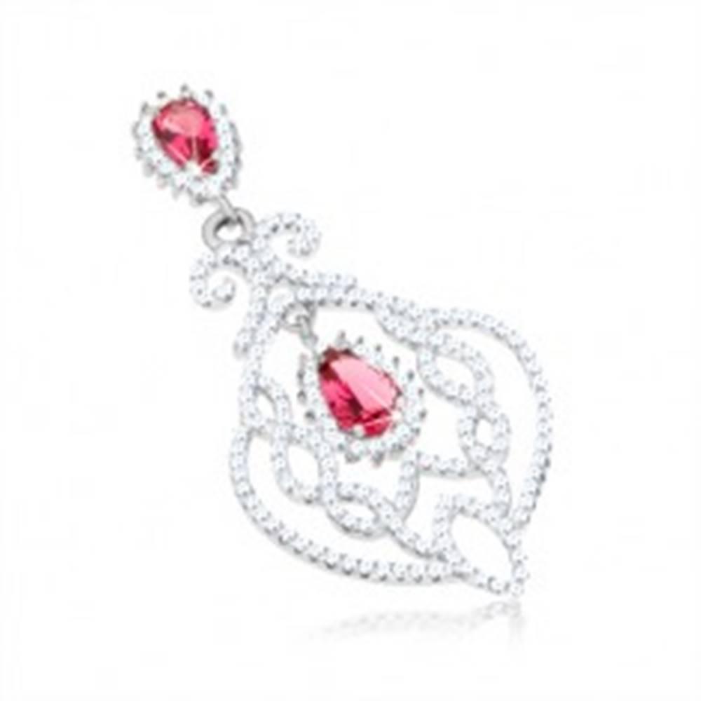 Šperky eshop Strieborný prívesok 925, lístok s filigránovým zdobením, číre a červené zirkóny