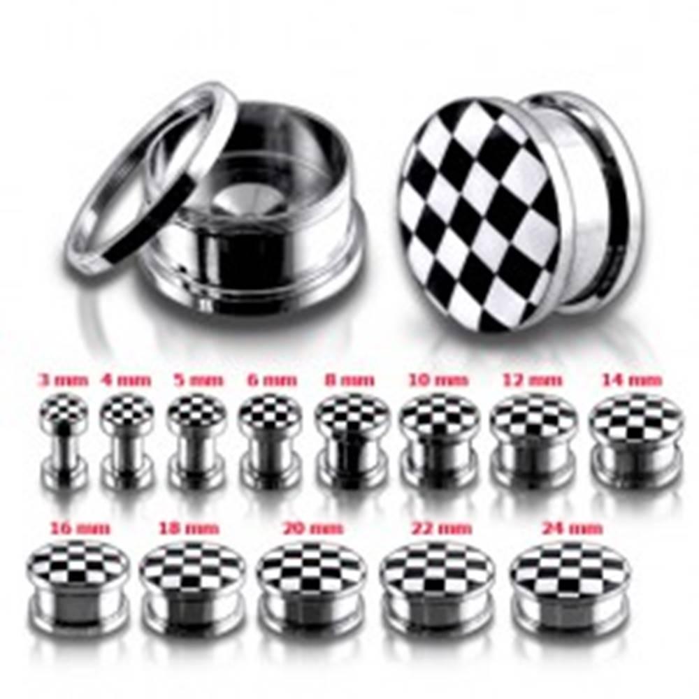 Šperky eshop Tunel plug z chirurgickej ocele so šachovnicovým motívom - Hrúbka: 10 mm