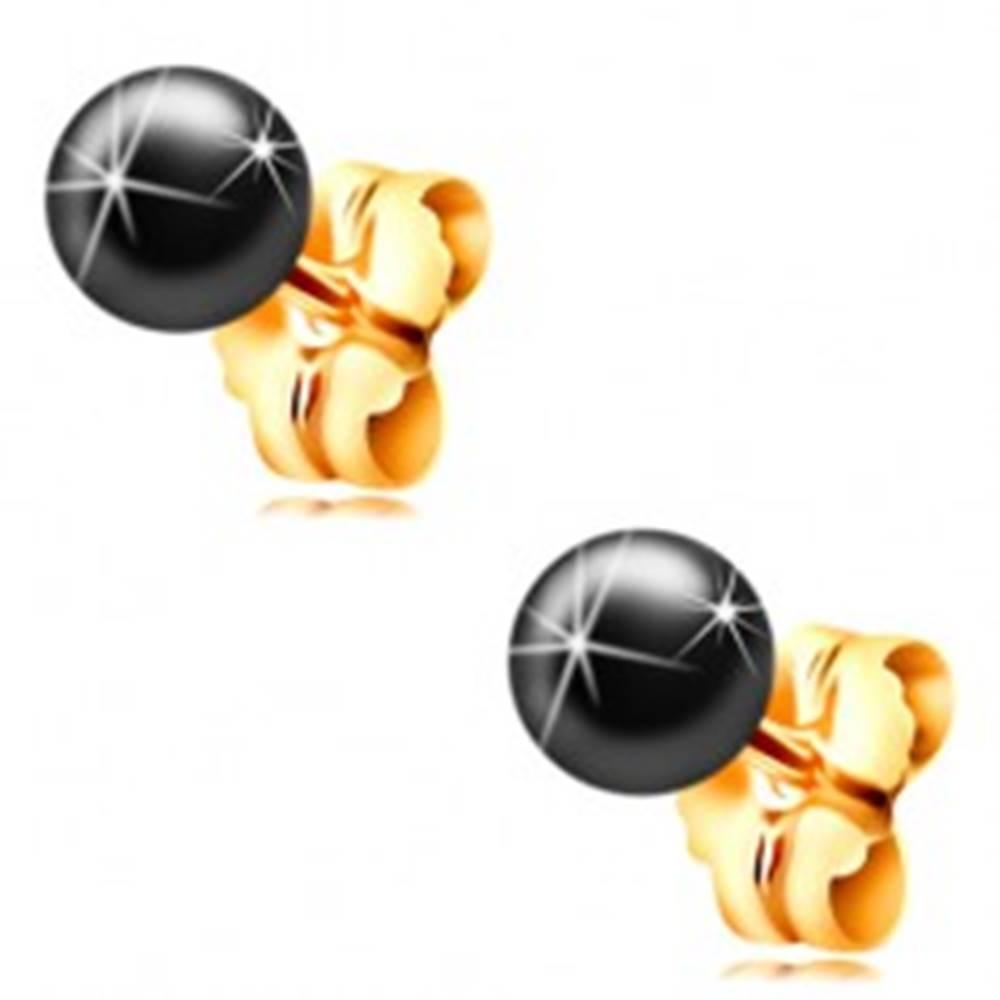 Šperky eshop Zlaté 14K náušnice - puzetky s tmavosivou guličkou z hematitu, 4 mm