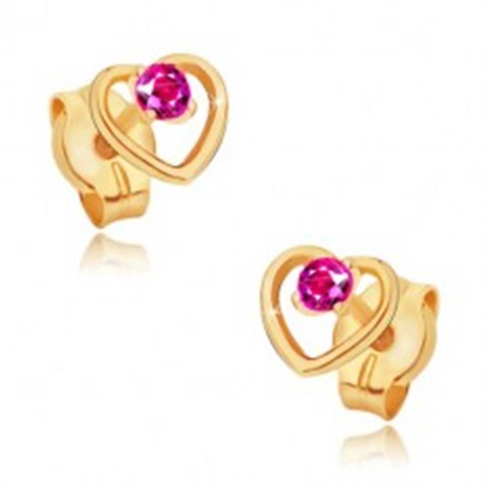 Šperky eshop Zlaté náušnice 585 - obrys pravidelného srdca, okrúhly ružový rubín