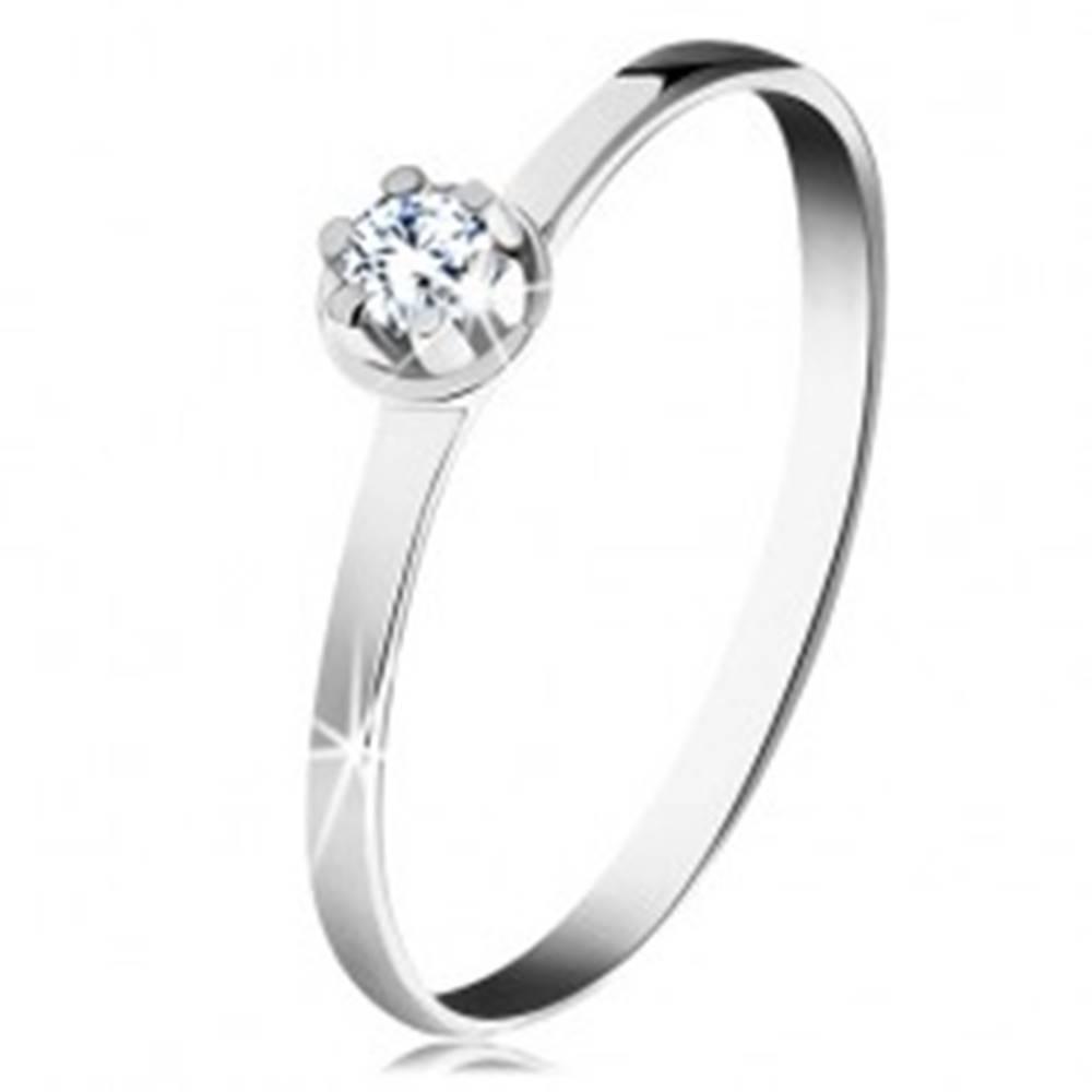 Šperky eshop Zlatý prsteň 585 - číry diamant vo vyvýšenom okrúhlom kotlíku, biele zlato - Veľkosť: 49 mm