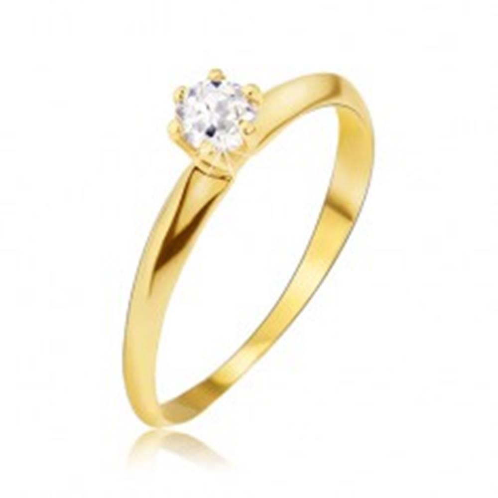 Šperky eshop Zlatý prsteň 585 - lesklé hladké skosené ramená, číry kamienok - Veľkosť: 49 mm
