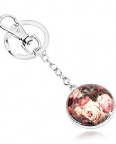 Prívesok na kľúče, kruh, vypuklá číra glazúra, pestrofarebné rozkvitnuté ruže