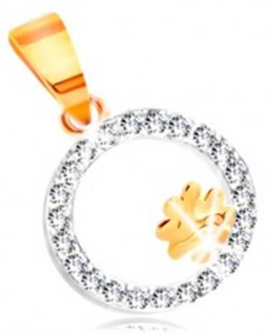 Prívesok z kombinovaného 14K zlata - štvorlístok v obruči z čírych zirkónov