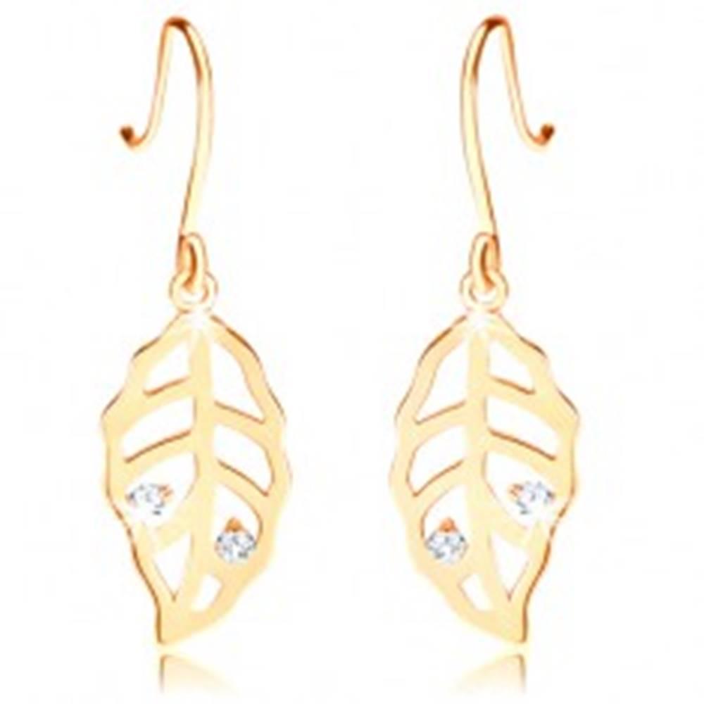 Šperky eshop Briliantové zlaté náušnice 585 - listy zdobené výrezmi a čírymi diamantmi