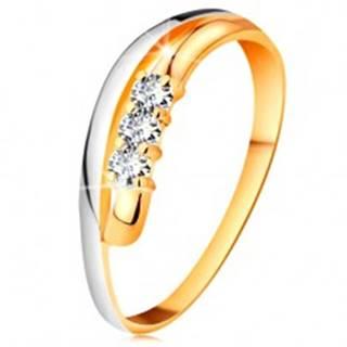 Briliantový prsteň v 18K zlate, zvlnené dvojfarebné línie ramien, tri číre diamanty - Veľkosť: 51 mm