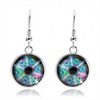 Cabochon náušnice, strieborná farba, rôznofarebný kaleidoskop, kruhy