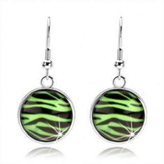 Kabošon náušnice s vypuklým sklom, zebra vzor v zeleno-čiernej kombinácii