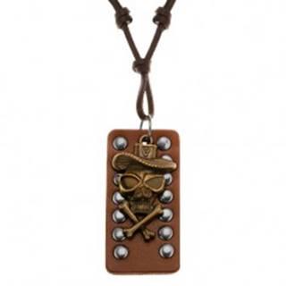 Kožený náhrdelník - lebka s prekríženými kosťami a klobúkom, vybíjaný pás kože
