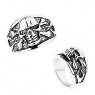 Mohutný prsteň z ocele 316L, vypuklá lebka s prekríženými kosťami, čierna patina - Veľkosť: 56 mm