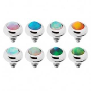 Náhradný diel do implantátu z ocele, gulička s farebným syntetickým opálom - Farba piercing: Číra