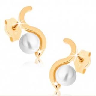 Náušnice zo žltého 9K zlata - ligotavá vlnka, guľatá perla bielej farby