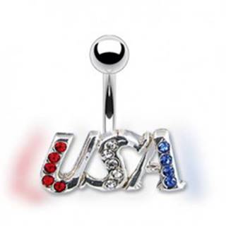 Piercing do brucha - USA, trojfarebné zirkóny, pevný úchyt